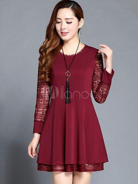 buy online e91a4 e3648 Pizzo Bordeaux semi-velato Skater plissettato abito vestito da donna manica  lunga