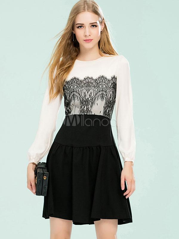info for 5a182 b5d0a Bagliori di raso vestito di pizzo Skater vestito elegante lungo Puff Sleeve  due colori femminile