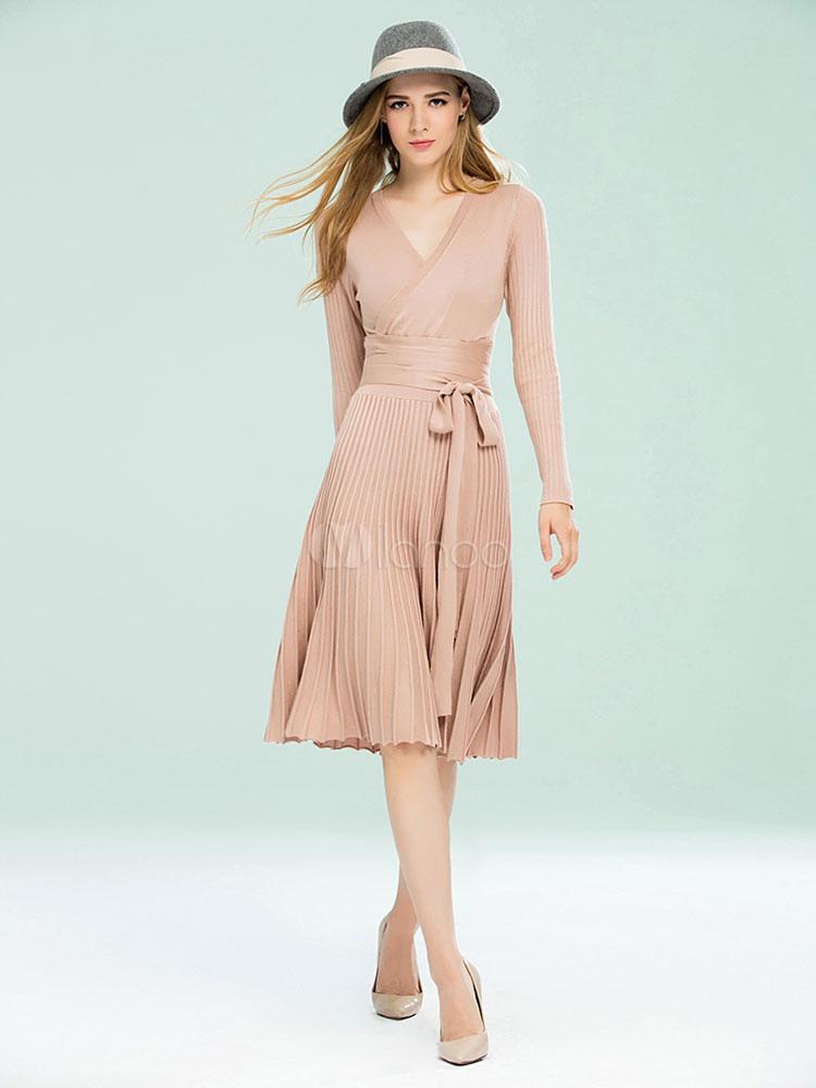 V collo manica lunga Slim Fit kaki maglione vestito donne maglia abito  plissettato-No. 1d3f061ed93