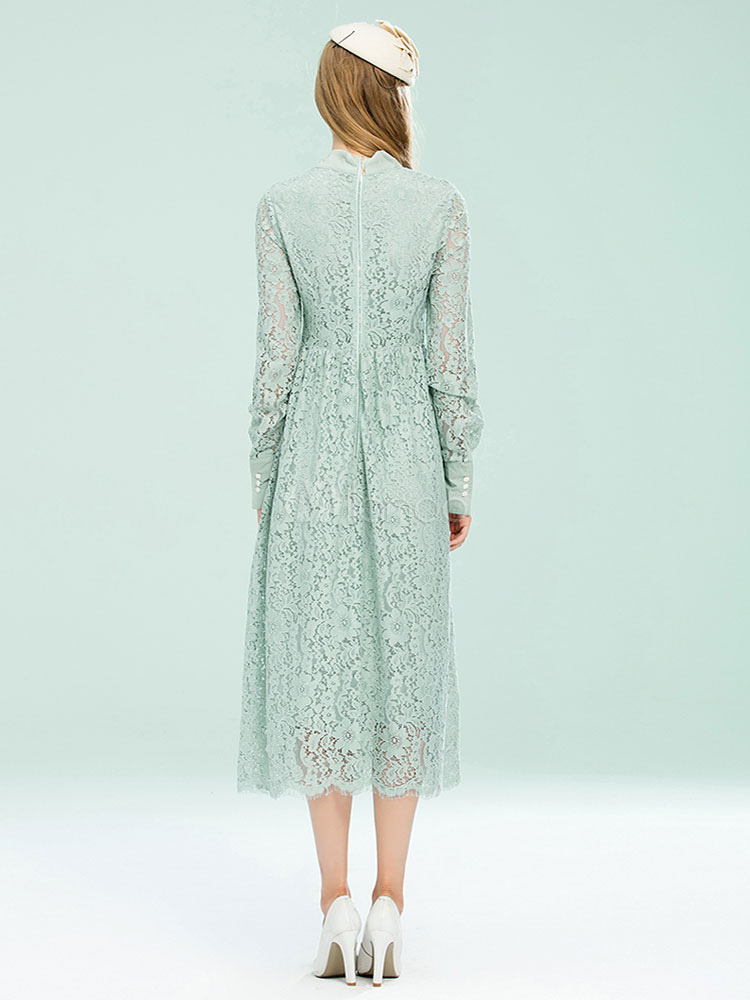 Graue Spitze Kleid Vintage Langarm verziert Kragen ...