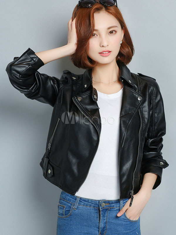 buy online ede26 6e9a9 Giacca nera PU manica lunga donna Slim Fit giacca corta Moto