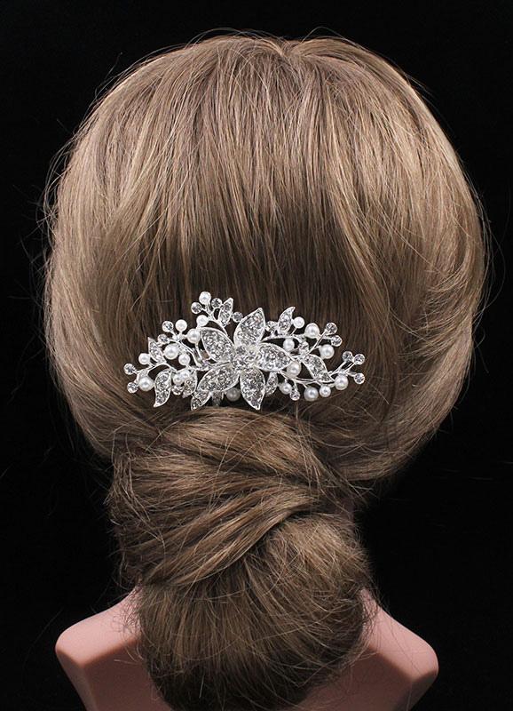 Bridal Hair Comb Silver Aolly Imitation Pearl Rhinestone Hair Accessories