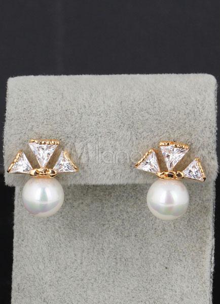Buy Pearl Stud Earrings Bridal Cubic Zirconia Bows White Wedding Earrings for $4.99 in Milanoo store