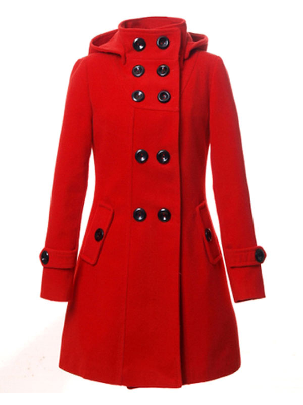 Women Trench Coat Red Peacoat Hooded Long Sleeve Double Breasted Button Woolen Overcoat Cheap clothes, free shipping worldwide