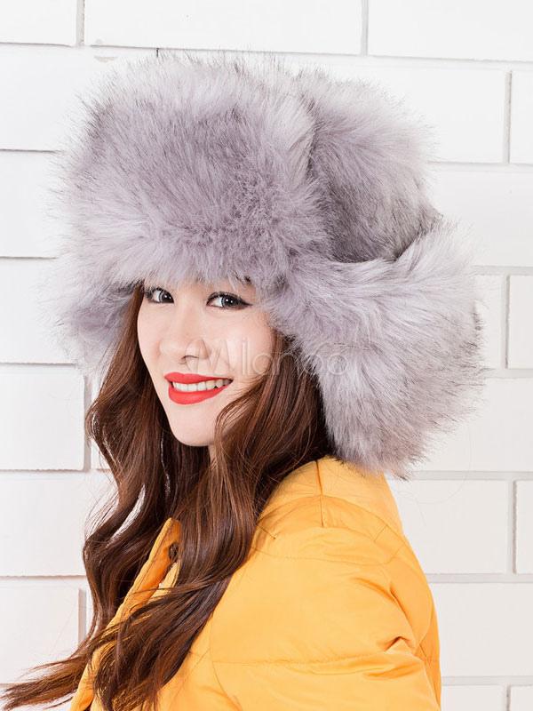 chapeau d hiver sac fausse fourrure chapeau f minin. Black Bedroom Furniture Sets. Home Design Ideas