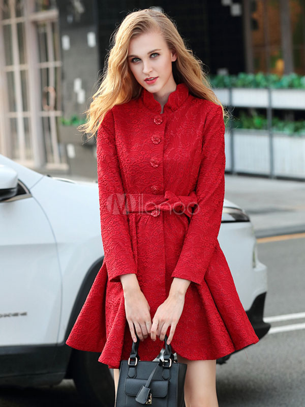 Buy Red Women's Coat Jacquard Stand Collar Long Sleeve Pleated Belted Coat for $65.47 in Milanoo store