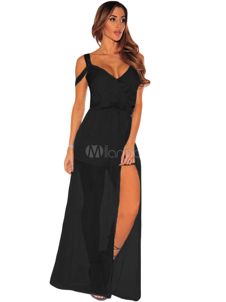 01cf08a2236 Sexy Black Jumpsuit Women s V Neck Strappy Romper With Maxi Skirt-No. ...