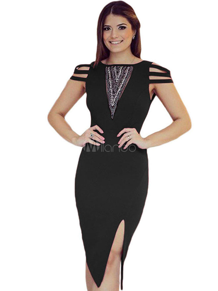 Buy Black Club Dress Strappy Cap Sleeve Jewel Neck Slit Bodycon Dress for $21.59 in Milanoo store