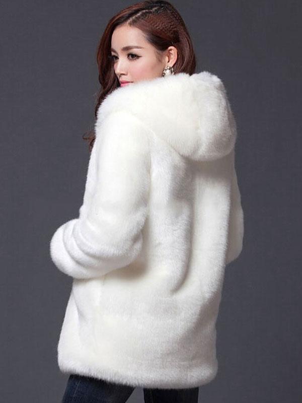 manteau fausse fourrure femme blanc capuche longue manche court manteau d hiver veste fausse. Black Bedroom Furniture Sets. Home Design Ideas
