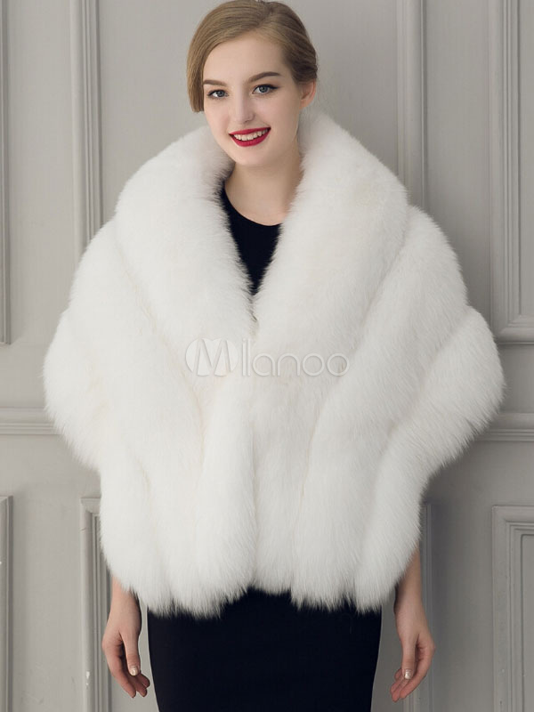 Faux Fur Coat Women White Wrap Mentel Winter Overcoat - Milanoo.com