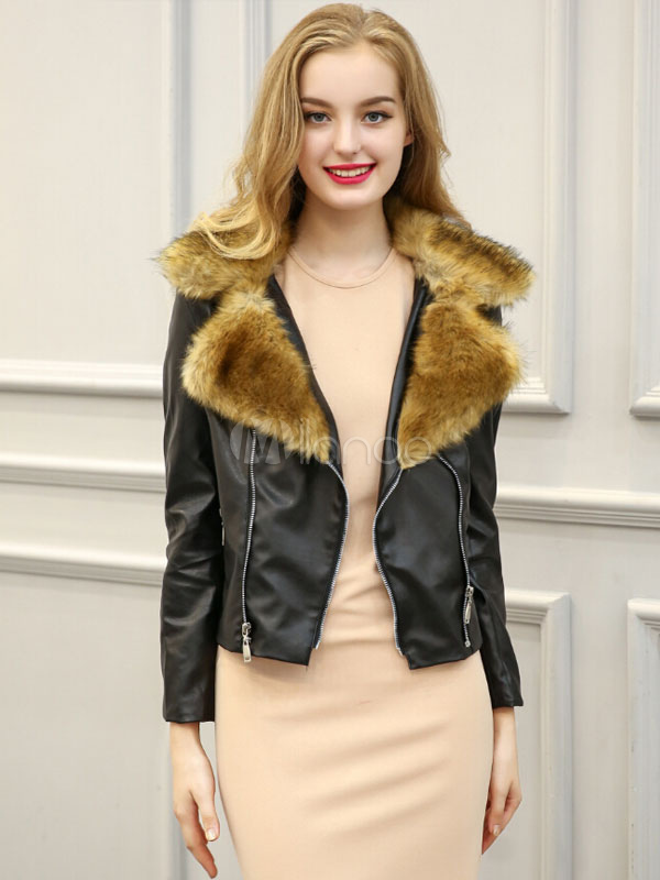 Women's Black Jacket PU Leather Faux Fur Collar Short Moto Jacket Cheap clothes, free shipping worldwide