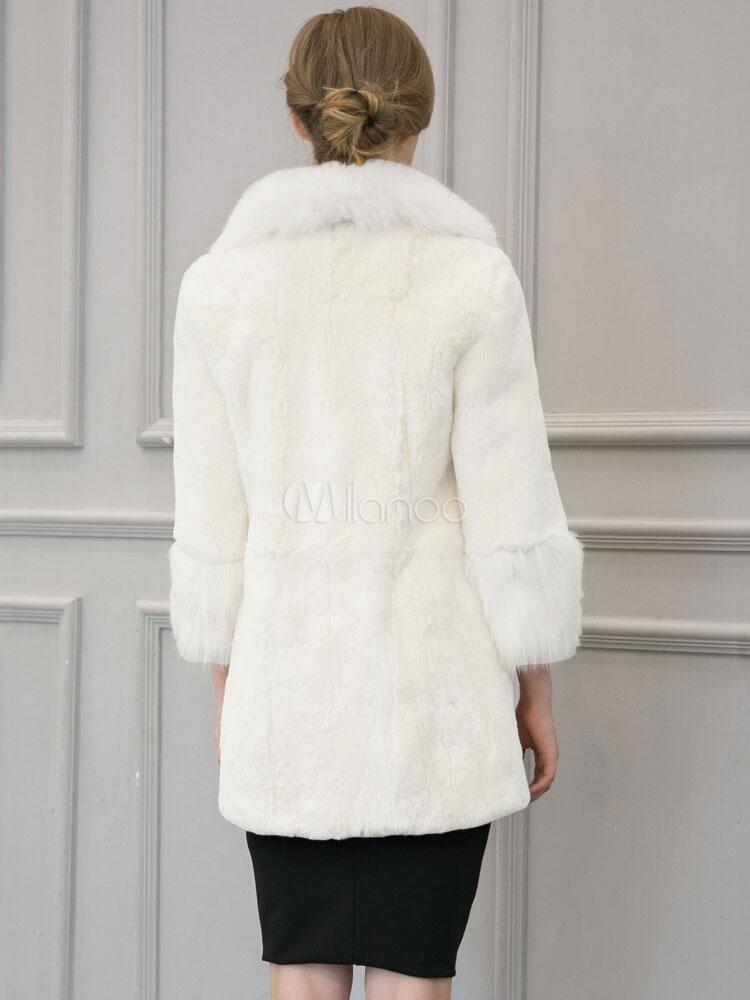 kunstpelz mantel langarm turndown kragen damen winter mantel wei. Black Bedroom Furniture Sets. Home Design Ideas
