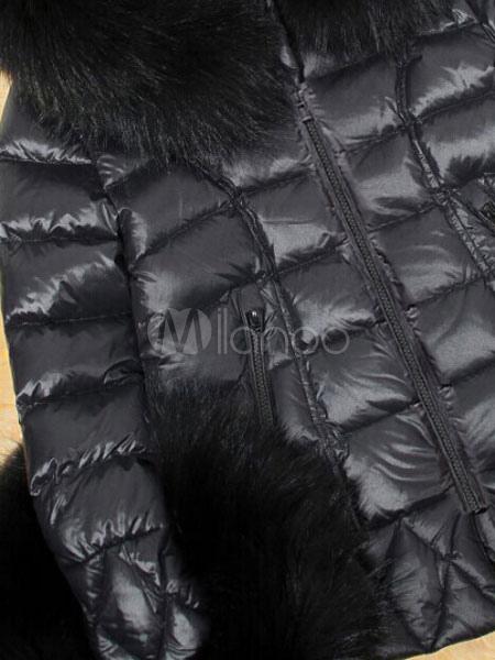 Femme En Avec Noir Polyester Charmante Unicolore Doudoune Fourrure FHWq55
