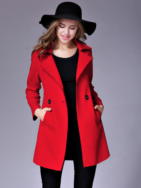 Women Red Peacoat Long Sleeve Button Turndown Collar Woolen Winter Overcoat Cheap clothes, free shipping worldwide