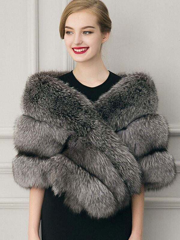 Manteau fausse fourrure manteau courte grise luxe veste fausse fourrure cape femme