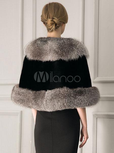 Manteau Fausse Fourrure Femme Noir Cou Half Sleeve Manteau Cape D