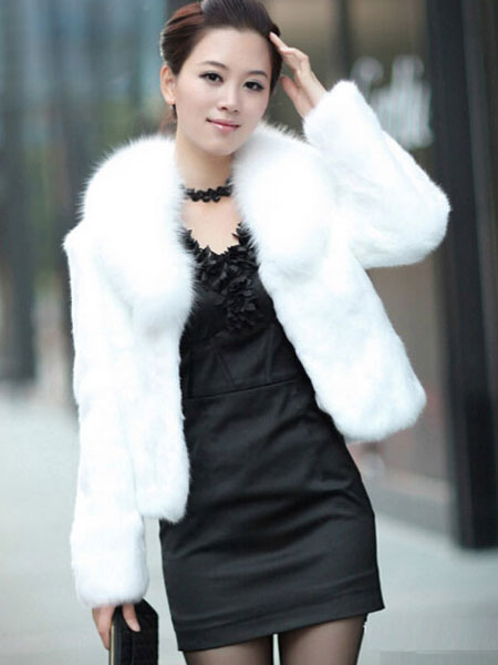 e91c937792524 Abrigos y chaquetas de abrigo de piel imitación manga larga blanca corchete  de diseño corto mujer ...