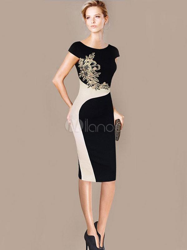 best service 9d20e da9d0 Vestito aderente due tono gioiello scollatura maniche corte Print floreali  tubino donna