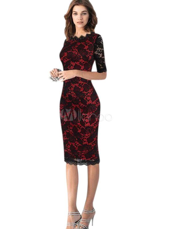 Red Lace Dress Embellished Collar Half Sleeve Slim Fit Sheath Dress For Women