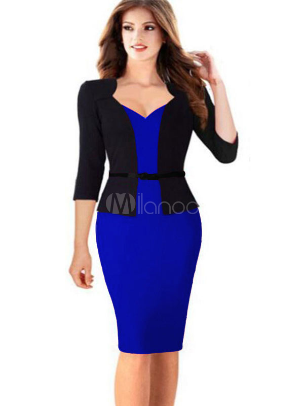 Buy Women's Bodycon Dress Black Red 3/4-Length Sleeve Fake Two-Piece Sheath Dress With Sash for $24.91 in Milanoo store