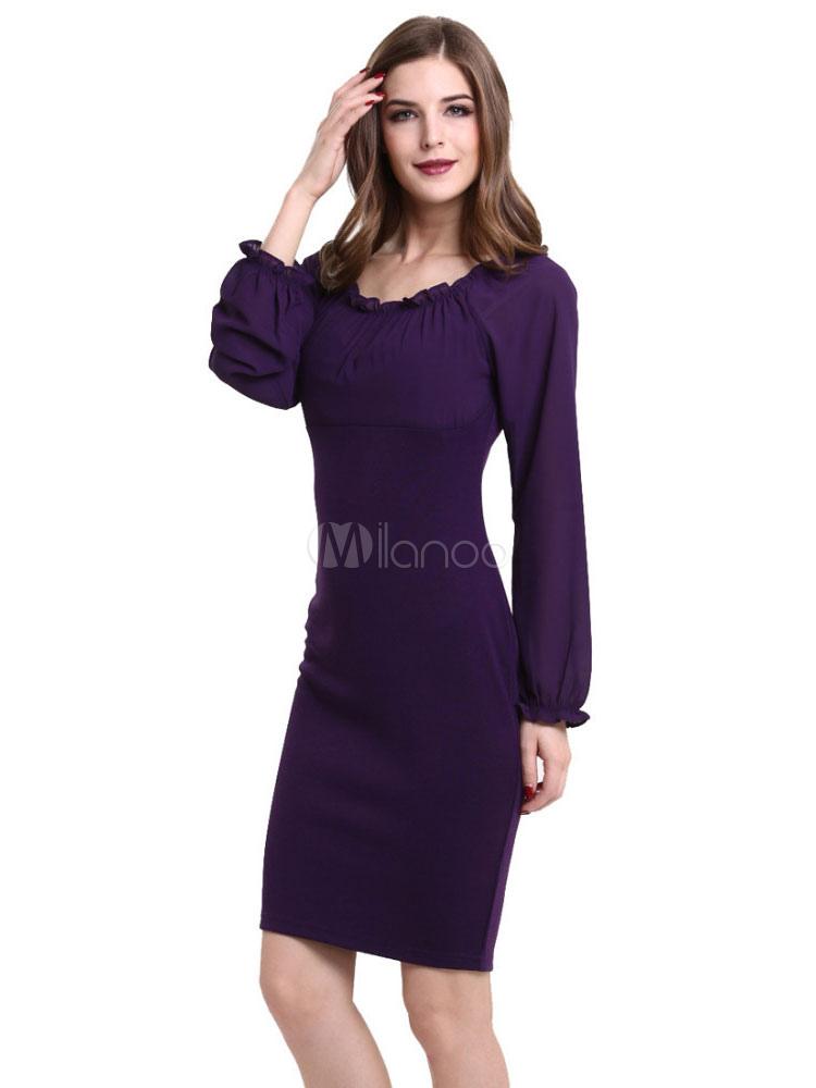 half off 7d417 4e9f5 Vestito aderente viola volant manica palloncino per donna
