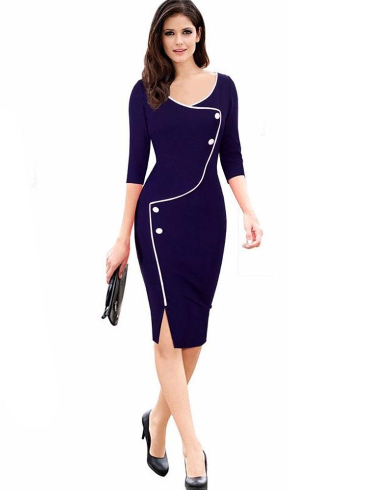 Blue Bodycon Dress 3/4-Length Sleeve Slim Fit Women's Sheath Dress
