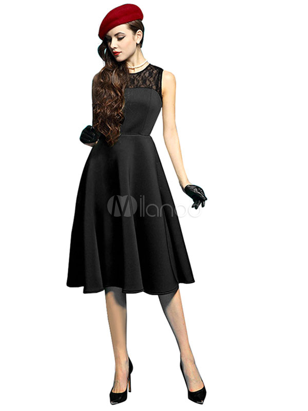 Buy Vintage Black Dresses Lace Patchwork Sleeveless Pleated Women's Retro Dresses for $33.24 in Milanoo store