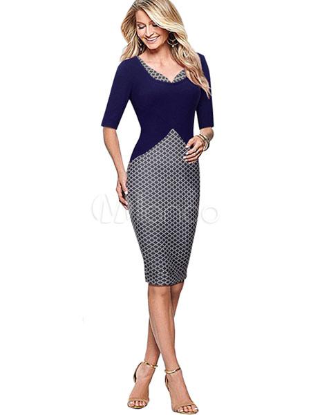 Buy Women's Bodycon Dress Color Block Half Sleeve Pencil Dress In Deep Blue for $35.99 in Milanoo store