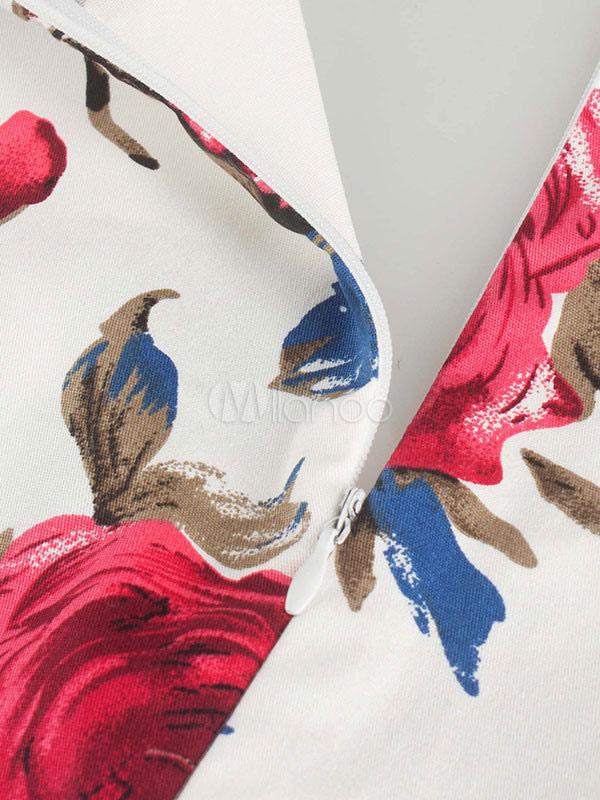 Milanoo / Women's Vintage Dress Red Sweetheart Neckline Short Sleeve Pleated Floral Print Flare Dress