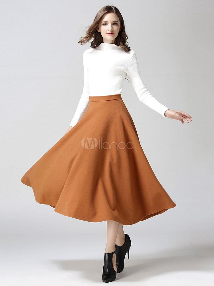 new style 58348 1fb29 Gonna lunga d'inverno con cerniera tasche per donna