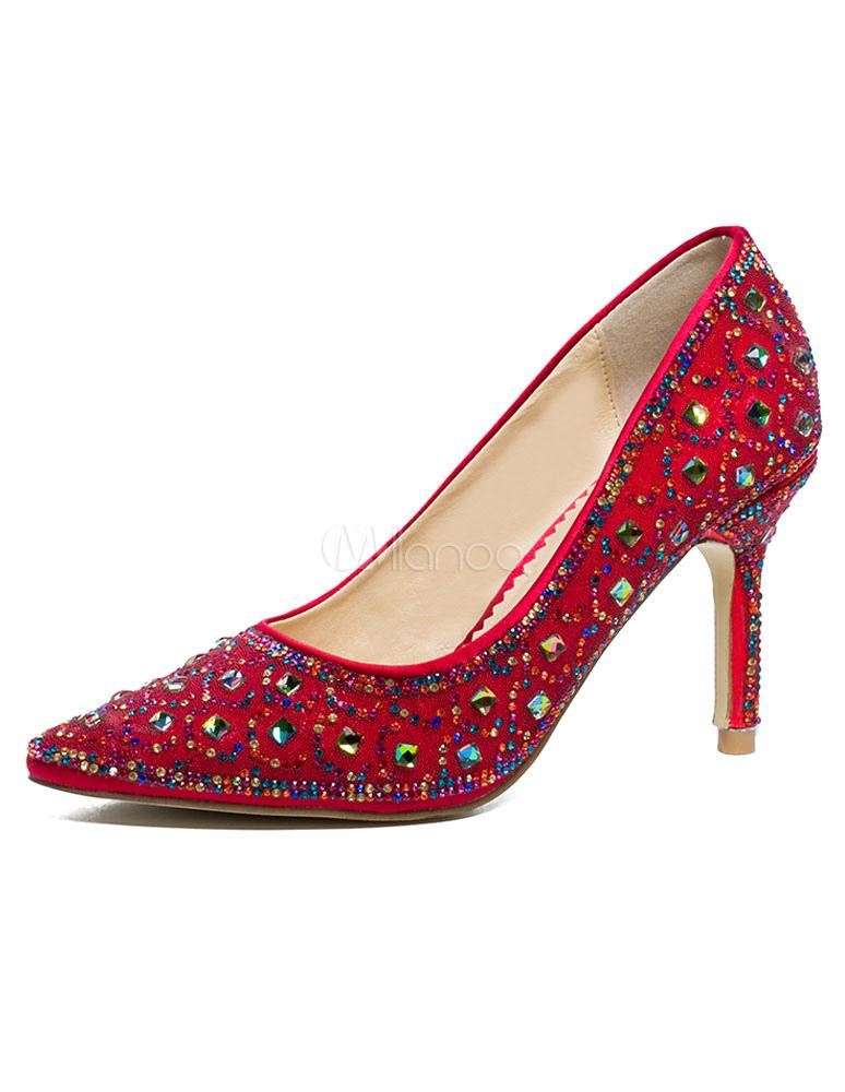 Milanoo / Red Wedding Shoes High Heel Crystal Rhinestones Pointed Toe Bridal Shoes