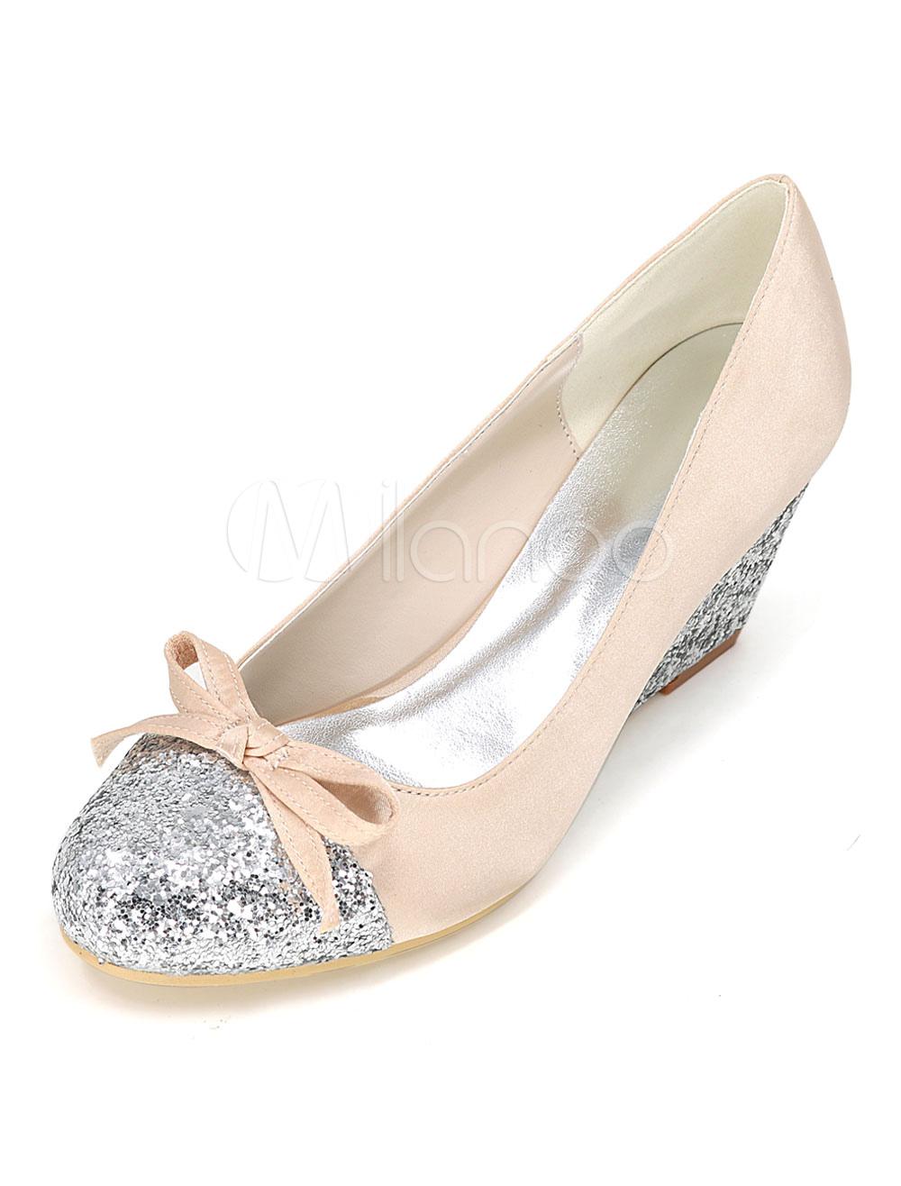 White Wedding Shoes Wedge Glitter Two Tone Bow Round Toe Slip On