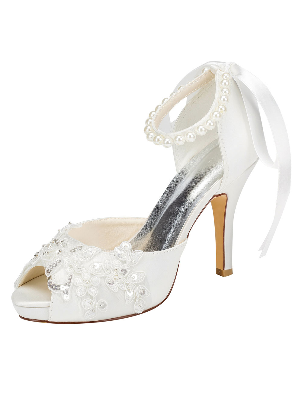 Peep Wedding Shoes High Heel Ivory Ankle Strap Pearl Sequined Bridal Shoes With Ribbon Bow