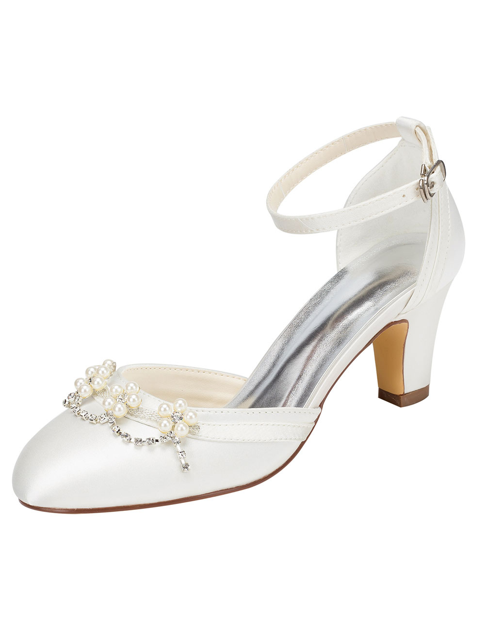 Buy Ivory Bridal Shoes Chunky Heel Round Toe Ankle Strap Pearl Crystal Wedding Shoes for $55.24 in Milanoo store