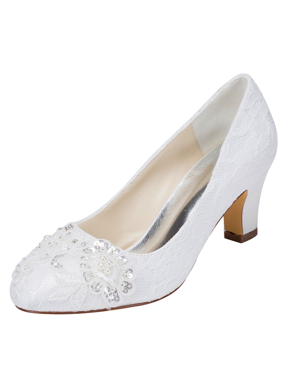 White Wedding Shoes Lace Chunky Heel Slip-on Sequined Pearl Round Toe Bridal Shoes