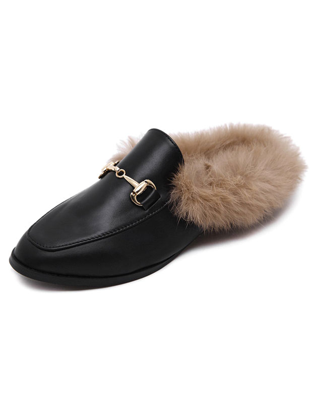 Buy Black Women Mules 2018 Round Toe Rabbit Fur Slip On Mule Loafers for $34.19 in Milanoo store