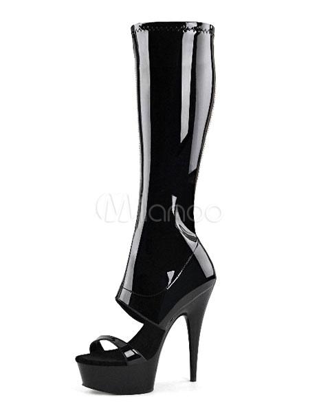445accc0e3c Botas con pala de charol negras color liso sexy - Milanoo.com