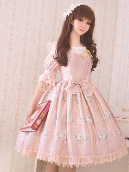 Classic Lolita Dress OP Big Bow Half Sleeve Little Angel Reciting Blessing Poem Lace Chiffon Printed