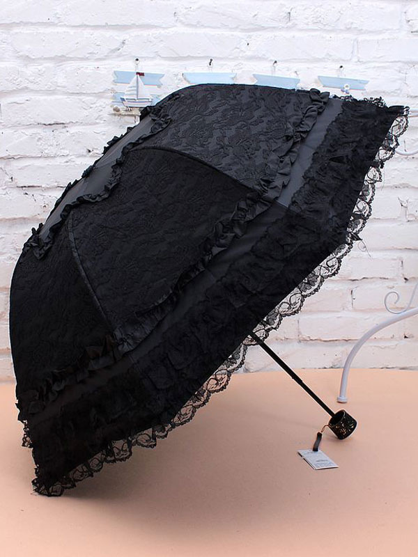 Sweet Lolita Umbrella Black Lace Princess Folded Lolita Parasols