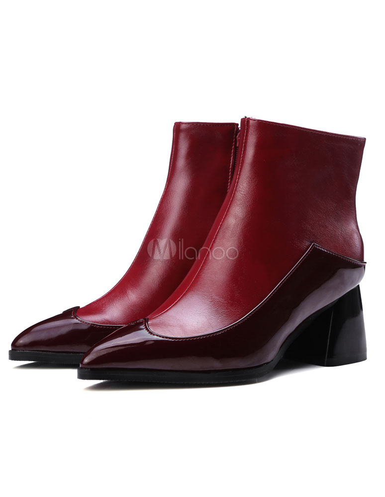 e39548506e6f Pointed Heel Booties Women s Contrast Color PU Chunky Heel Ankle Boots-No.  ...