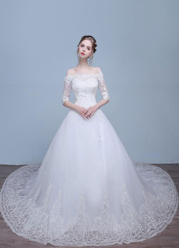 1850e8dba981a Lace Wedding Dress Off The Shoulder Half Sleeve Rhinestone A-Line Sequined Bridal  Dress With ...