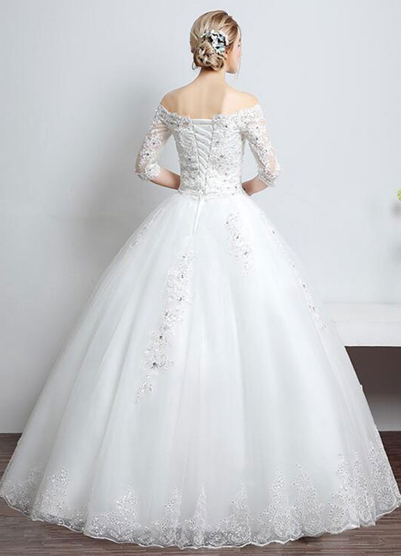 aa99e228725e0 ... Lace Wedding Dress Off The Shoulder Ivory A Line Lace Up Half Sleeve  Sequined Floor Length ...