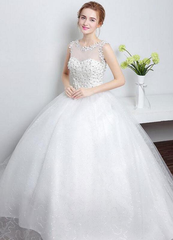 Prinzessin Hochzeitskleid Elfenbein herzförmiger Illusion Ausschnitt ...