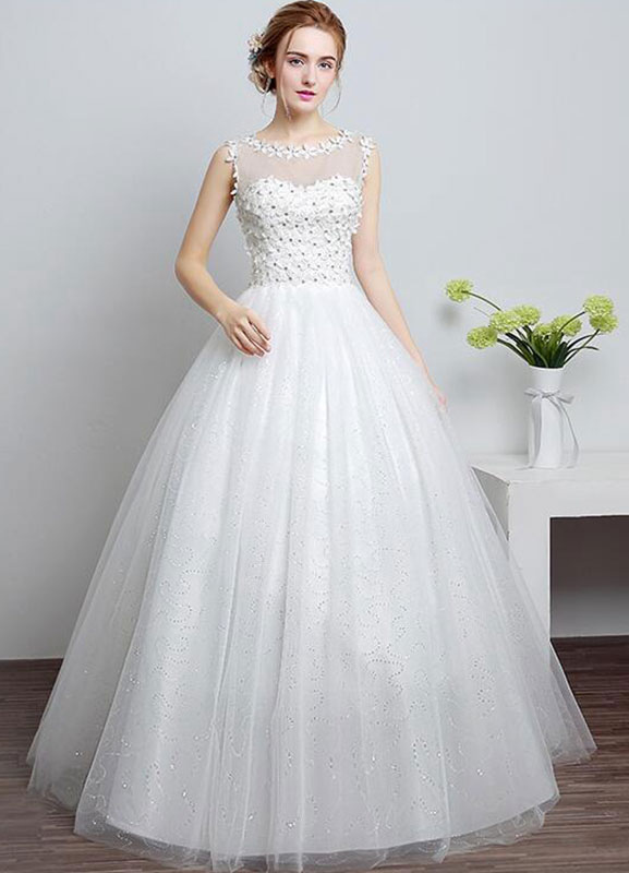 Princess Wedding Dress Ivory Sweetheart Illusion Neckline Cut Out Floor Length Bridal With Rhinestone Flowers