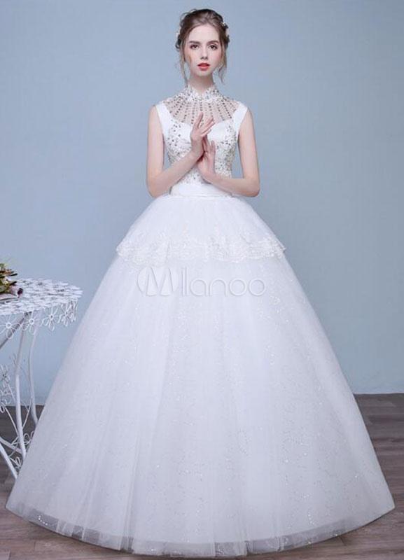 Milanoo / Ivory Wedding Dress A-line Lace Sequined Rhinestone Keyhole Floor Length Bridal Dresses