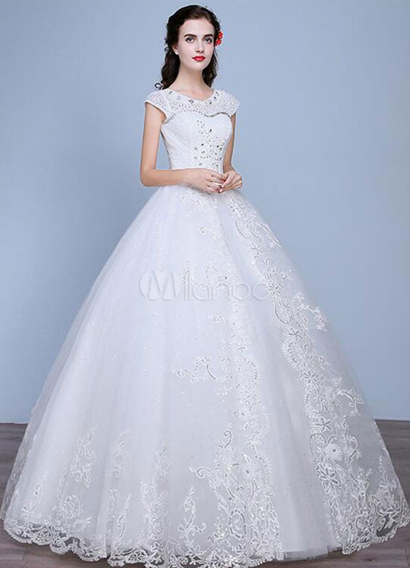 Buy Princess Wedding Dresses A-Line Lace Rhinestone Beaded Floor Length Ivory Bridal Dresses for $97.99 in Milanoo store