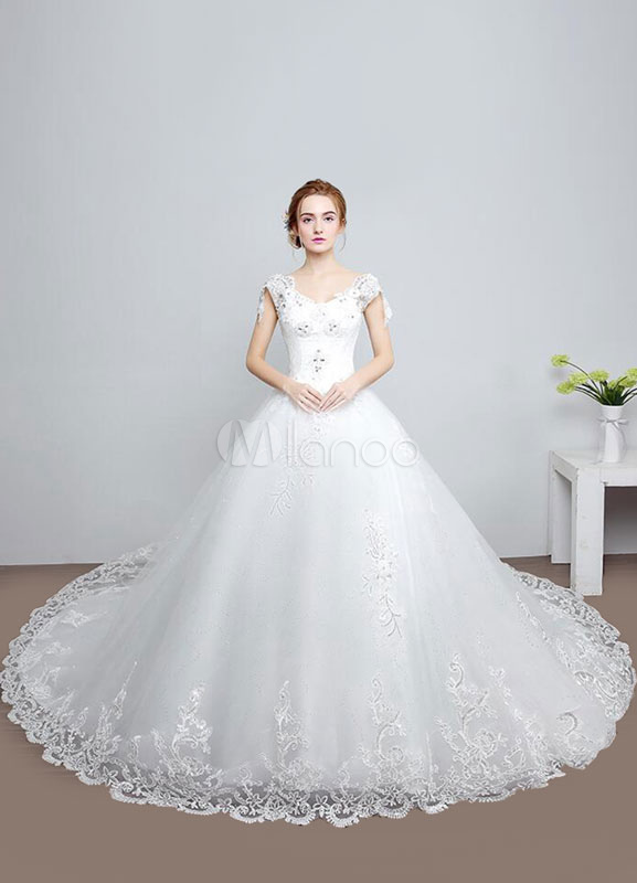 Milanoo / Princess Wedding Dress Backless A-Line Lace Rhinestones Beaded Lace Up V-neck Bridal Dress