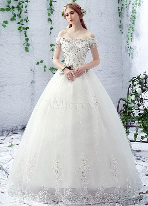 Milanoo / Ivory Wedding Dress Off The Shoulder Rhinestone Lace A-Line Floor Length Lace Up Bridal Dress