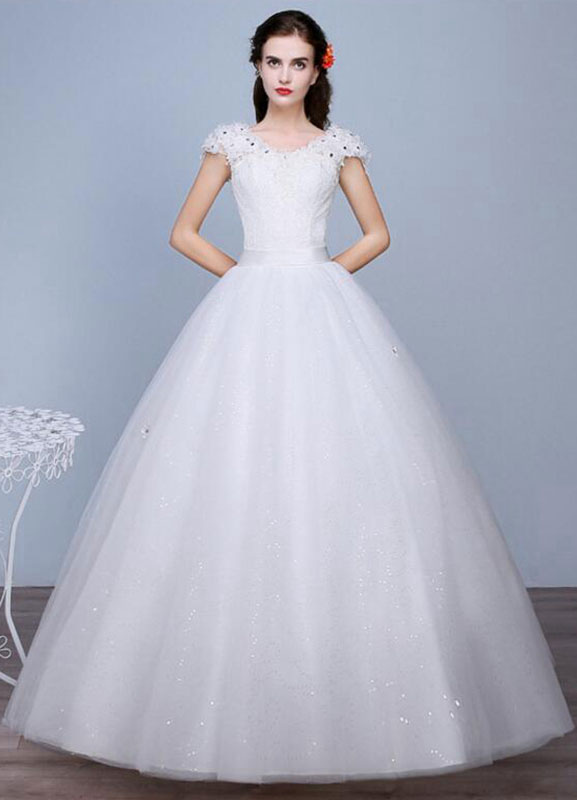 Buy Ivory Wedding Dress Sequined Lace V Neck Short Sleeve A-Line Floor Length Bridal Gown for $67.19 in Milanoo store