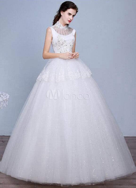 Elfenbein Hochzeitskleid ärmellos Nieten Stand Kragen a-Linie Spitze ...